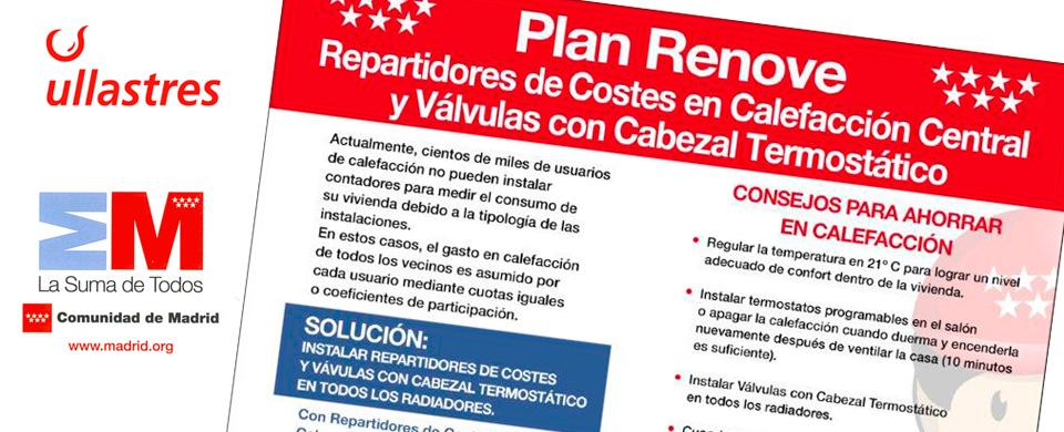 Plan Renove Comunidad de Madrid repartidores de costes de calefacción y válvulas termostáticas